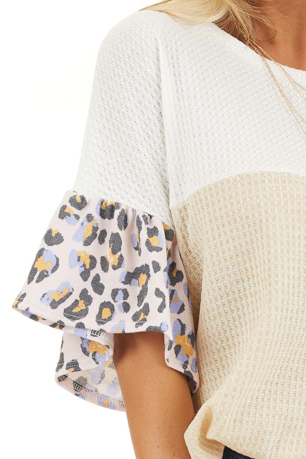 Beige and Ivory Waffle Knit Top with Leopard Print Contrast detail
