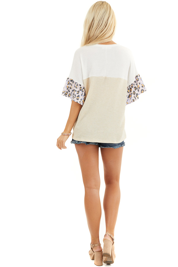 Beige and Ivory Waffle Knit Top with Leopard Print Contrast back full body