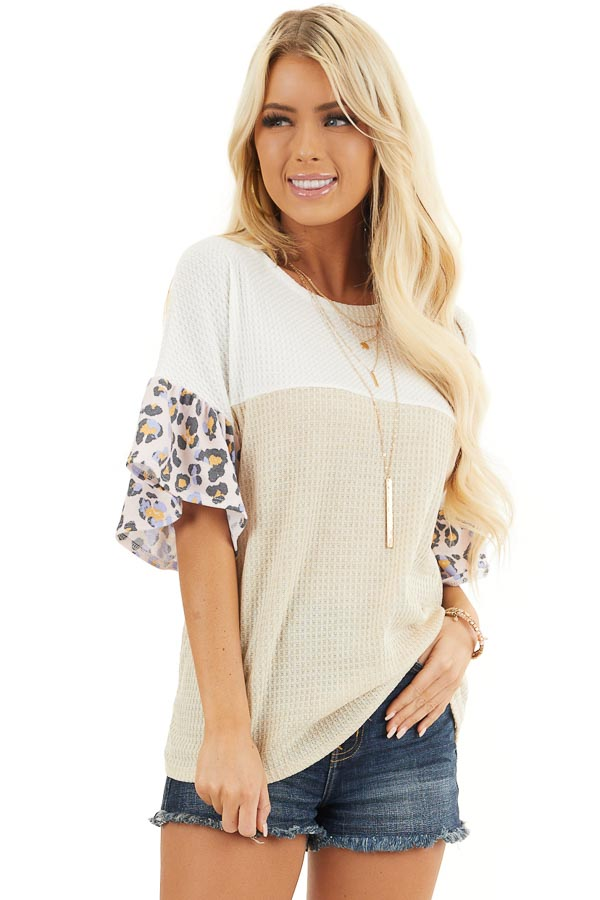 Beige and Ivory Waffle Knit Top with Leopard Print Contrast front close up