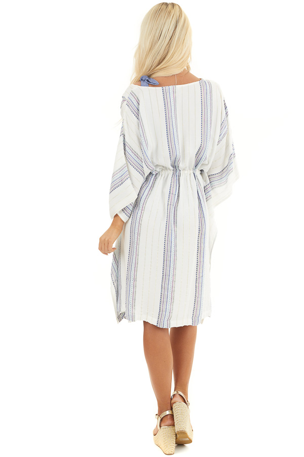White Metallic Striped Swimsuit Cover Up with Waist Tie back full body