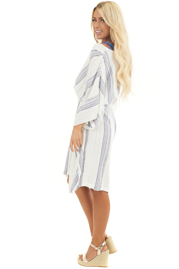 White Metallic Striped Swimsuit Cover Up with Waist Tie side full body