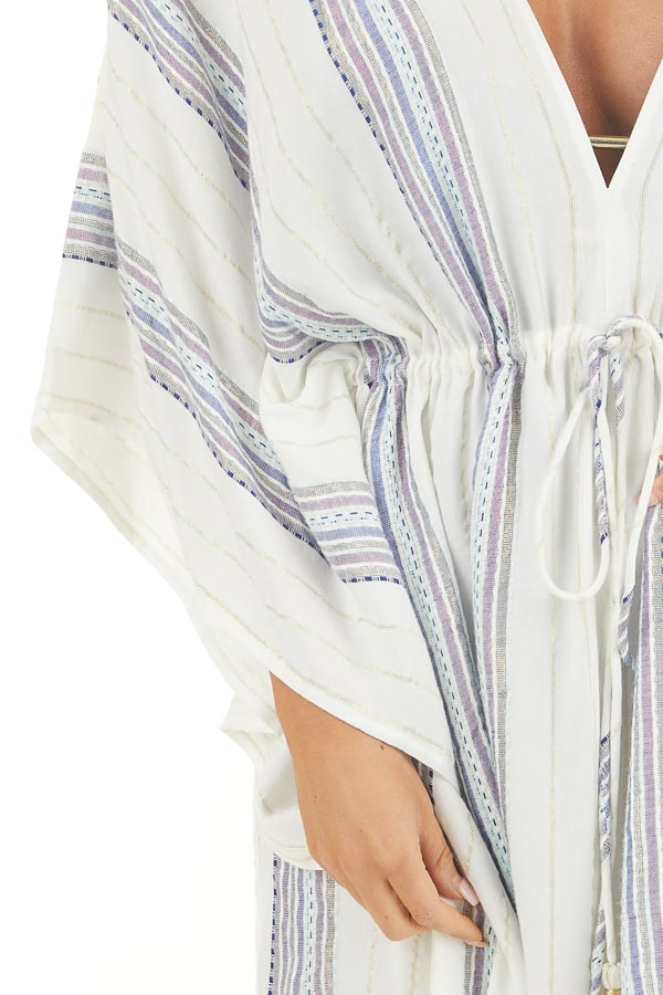 White Metallic Striped Swimsuit Cover Up with Waist Tie detail