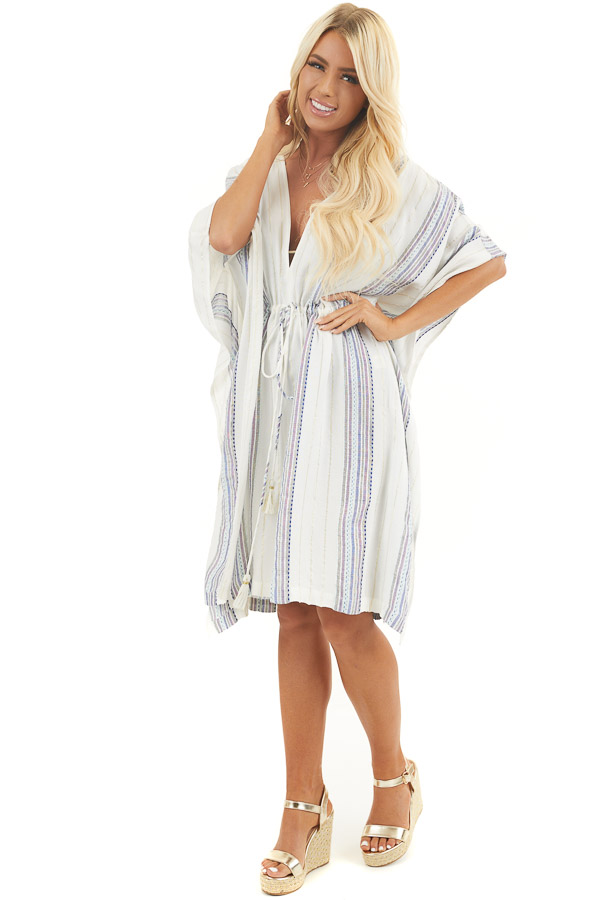 White Metallic Striped Swimsuit Cover Up with Waist Tie front full body