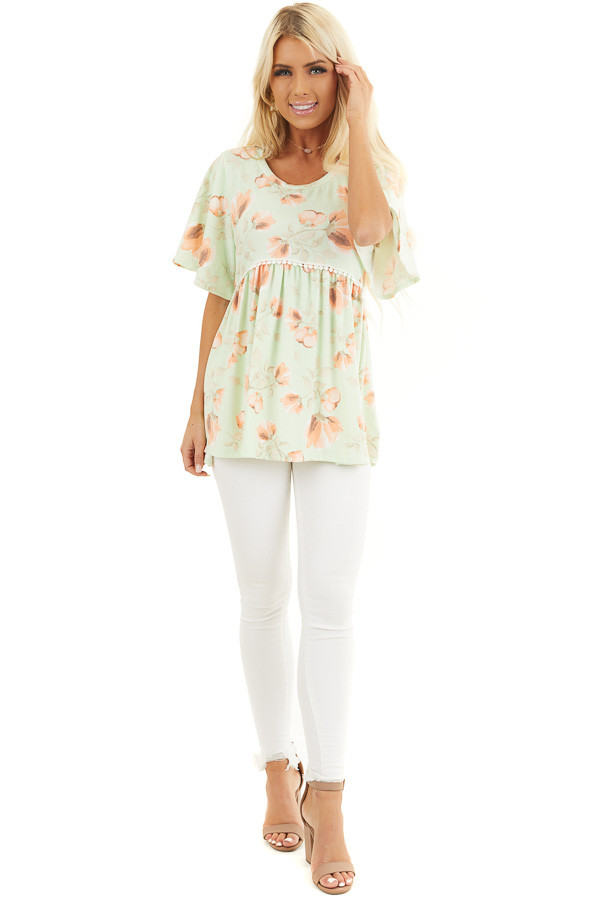 Lime Green Floral Babydoll Top with Crochet Lace Trim Detail front full body