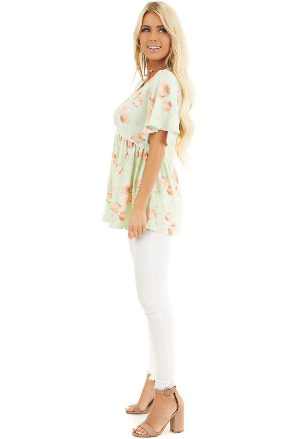 Lime Green Floral Babydoll Top with Crochet Lace Trim Detail side full body