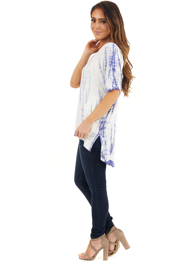 Periwinkle and White Tie Dyed Knit Top with High Low Hemline side full body