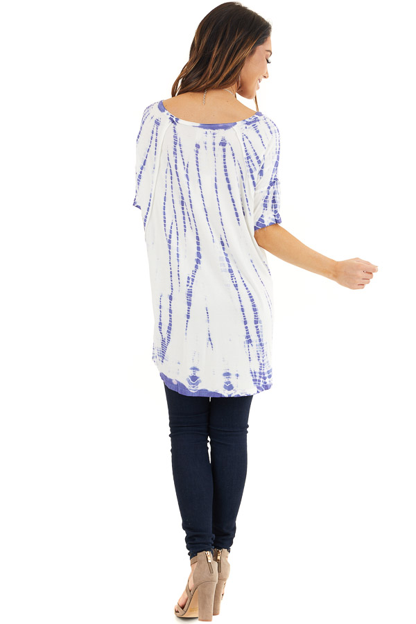 Periwinkle and White Tie Dyed Knit Top with High Low Hemline back full body