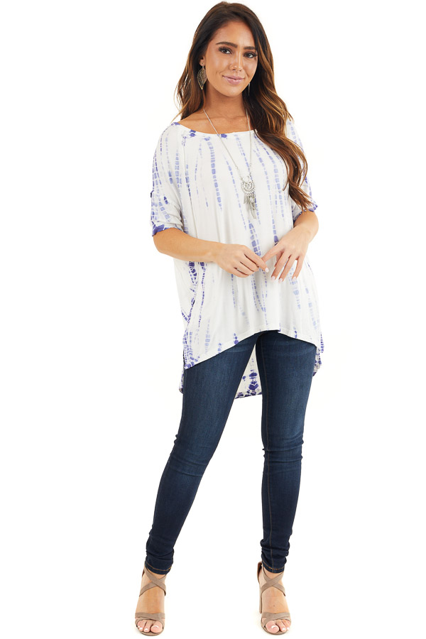 Periwinkle and White Tie Dyed Knit Top with High Low Hemline front full body