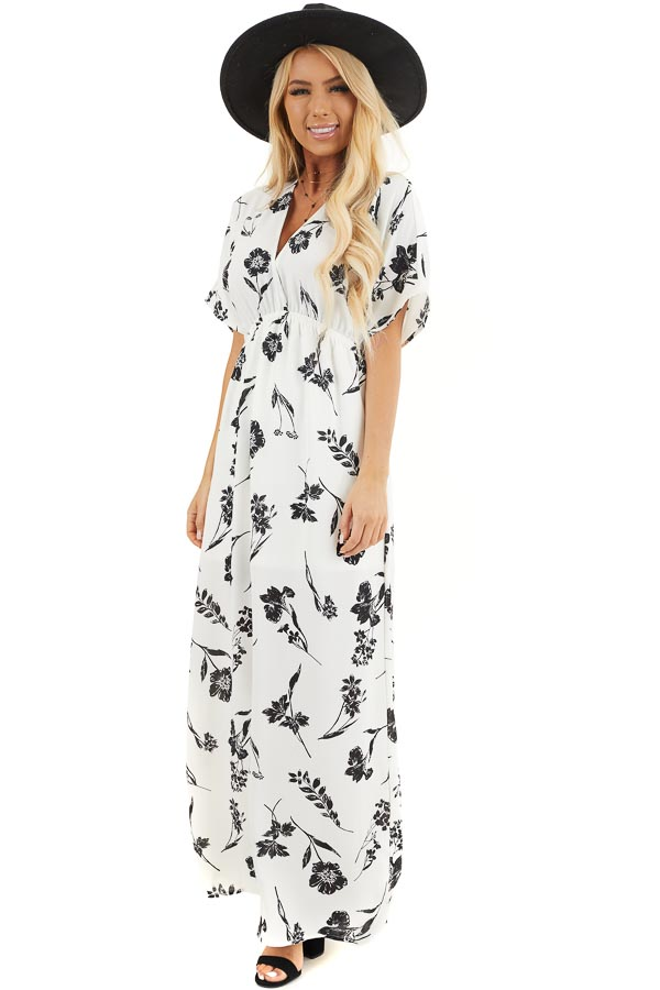 Black and White Floral Woven Maxi Dress with Elastic Waist front full body