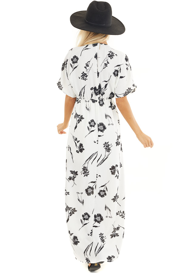 Black and White Floral Woven Maxi Dress with Elastic Waist back full body