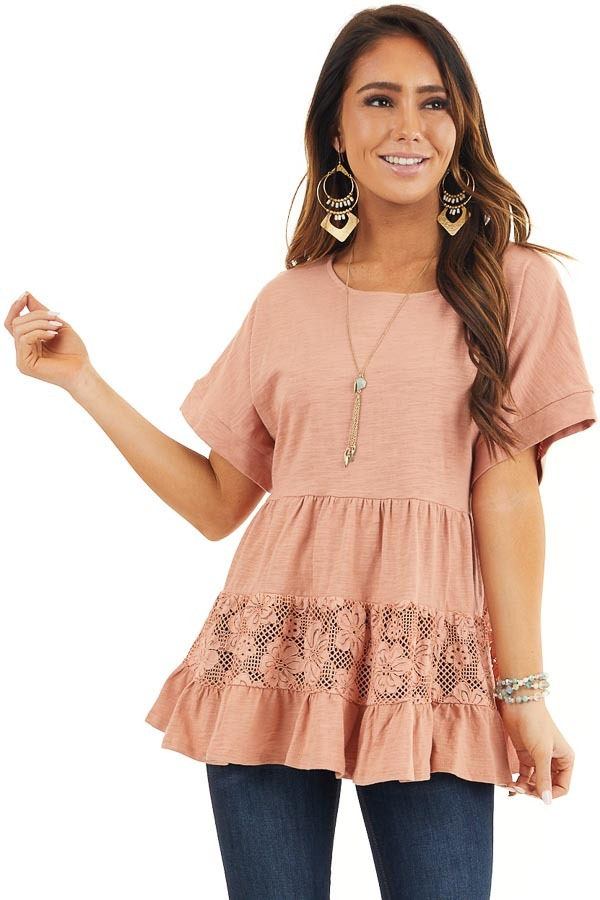 Salmon Tiered Short Sleeve Top with Floral Crochet Details front close up