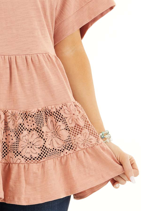 Salmon Tiered Short Sleeve Top with Floral Crochet Details detail