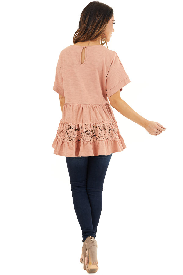 Salmon Tiered Short Sleeve Top with Floral Crochet Details back full body