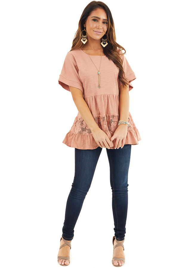 Salmon Tiered Short Sleeve Top with Floral Crochet Details front full body