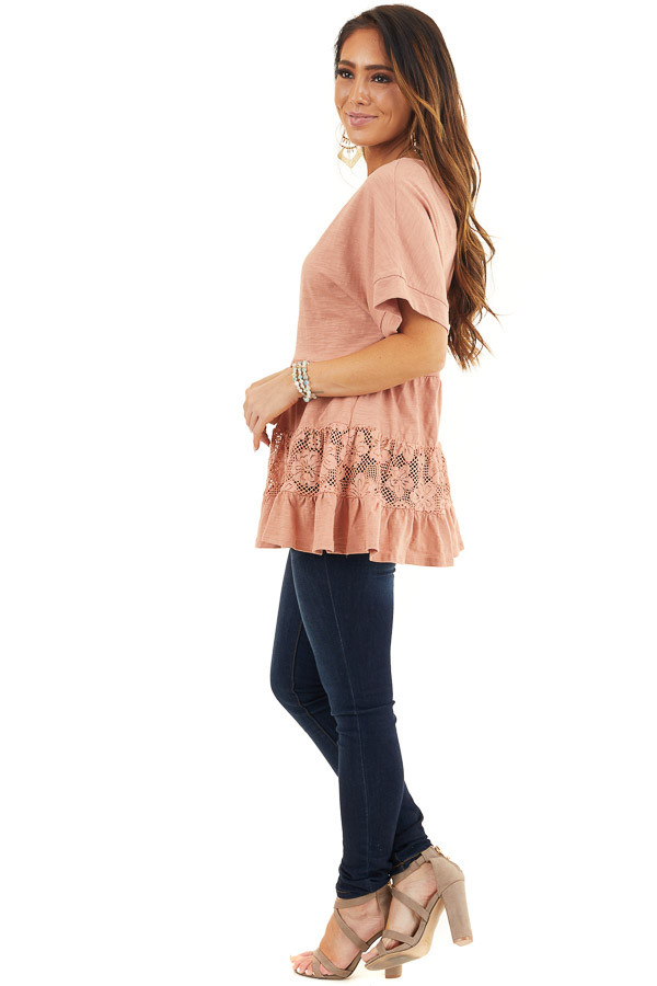 Salmon Tiered Short Sleeve Top with Floral Crochet Details side full body
