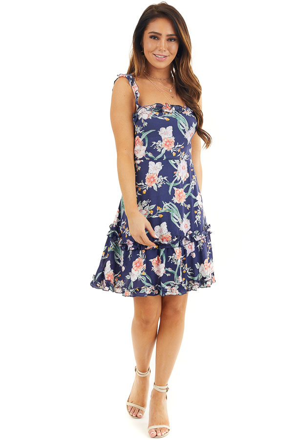 Navy Blue Floral Print Woven Dress with Ruffle Details front full body