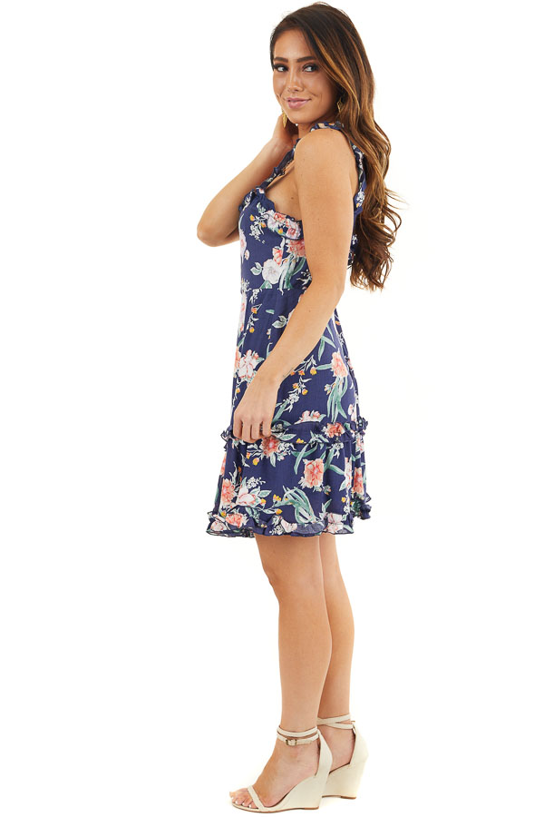 Navy Blue Floral Print Woven Dress with Ruffle Details side full body