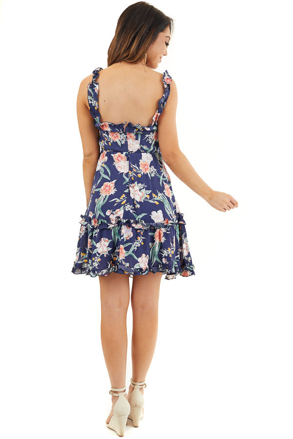 Navy Blue Floral Print Woven Dress with Ruffle Details back full body