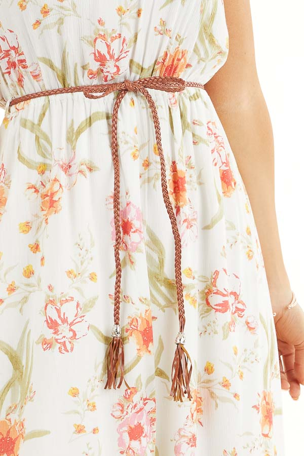 White Floral Print Strapless Maxi Dress with Braided Belt detail