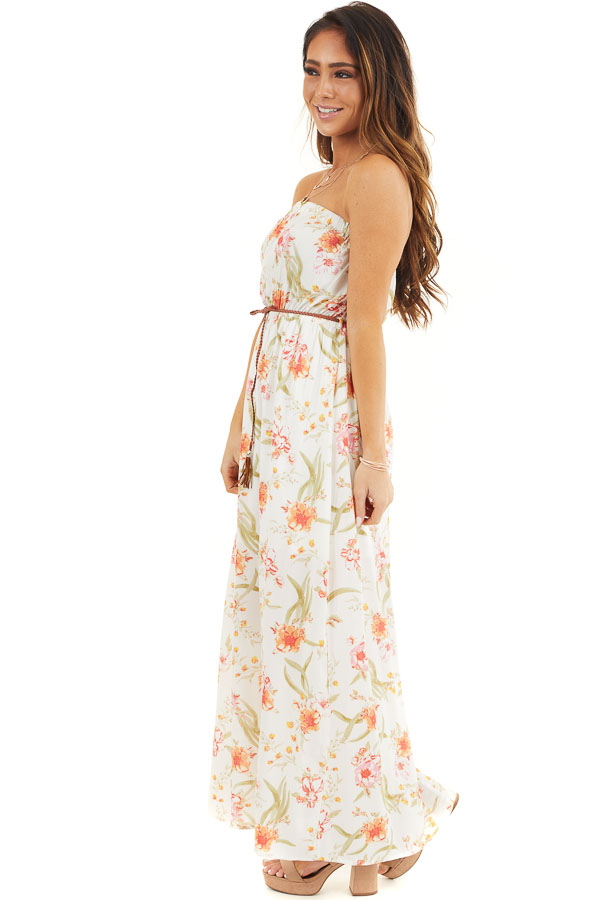 White Floral Print Strapless Maxi Dress with Braided Belt side full body
