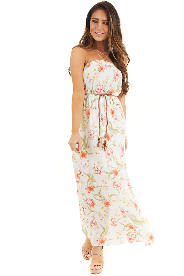 White Floral Print Strapless Maxi Dress with Braided Belt front full body