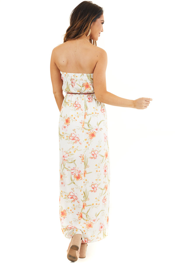 White Floral Print Strapless Maxi Dress with Braided Belt back full body