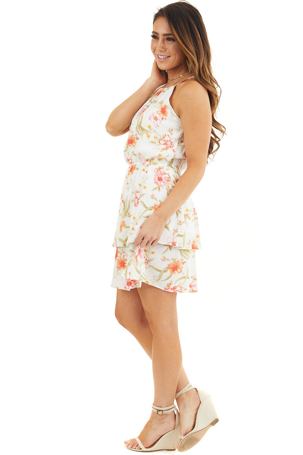 White Floral Print Sleeveless Woven Dress with Layered Skirt side full body