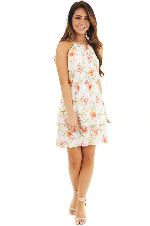 White Floral Print Sleeveless Woven Dress with Layered Skirt front full body