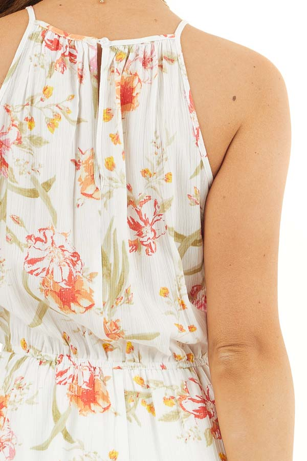 White Floral Print Sleeveless Woven Dress with Layered Skirt detail