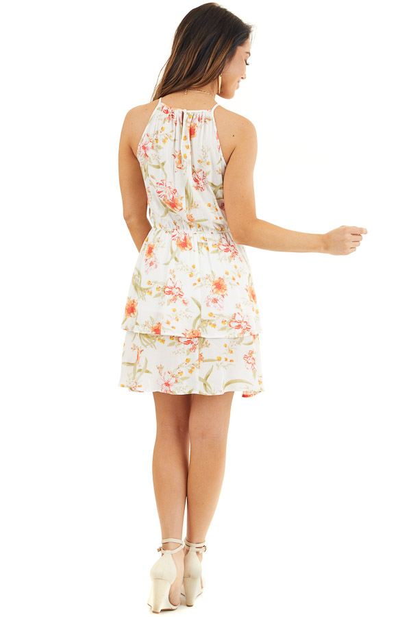 White Floral Print Sleeveless Woven Dress with Layered Skirt back full body