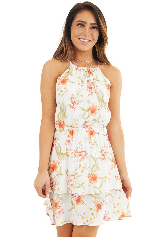 White Floral Print Sleeveless Woven Dress with Layered Skirt front close up