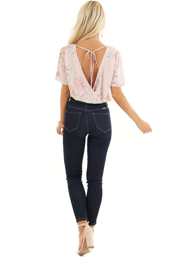 Faded Pink Floral Print Surplice Bodysuit with Open Tie Back back full body
