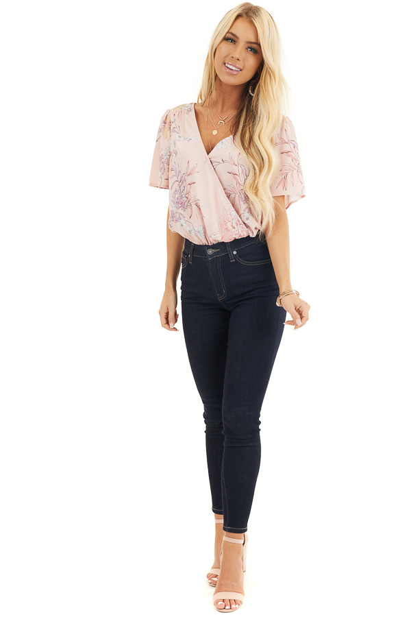 Faded Pink Floral Print Surplice Bodysuit with Open Tie Back front full body