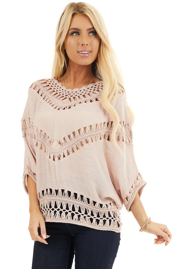 Dusty Blush Dolman Sleeve Top with Sheer Crochet Details front close up