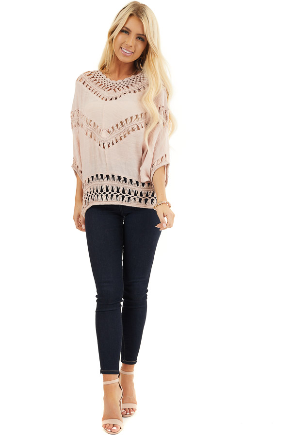 Dusty Blush Dolman Sleeve Top with Sheer Crochet Details front full body