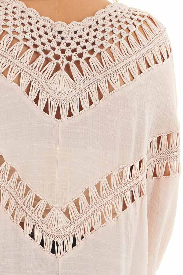 Dusty Blush Dolman Sleeve Top with Sheer Crochet Details detail