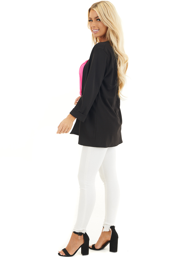 Black Open Front Long Sleeve Blazer with 3/4 Sleeves side full body