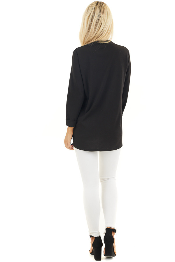 Black Open Front Long Sleeve Blazer with 3/4 Sleeves back full body