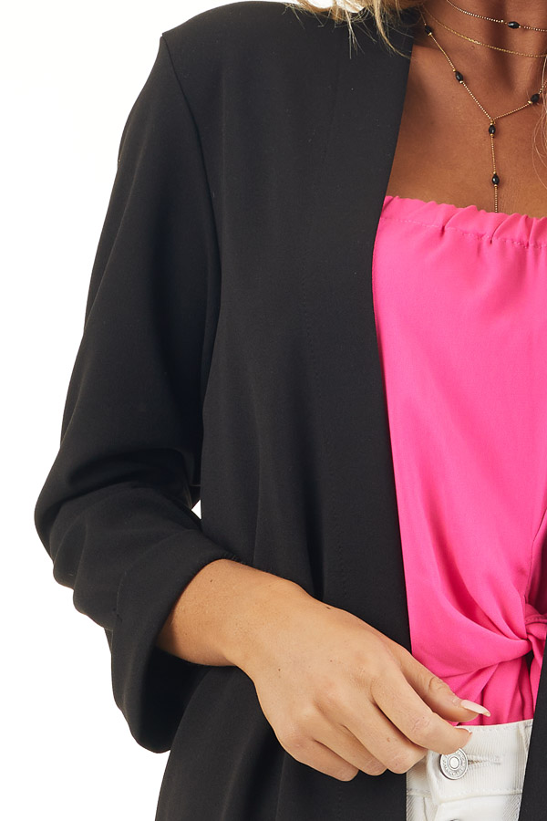Black Open Front Long Sleeve Blazer with 3/4 Sleeves detail