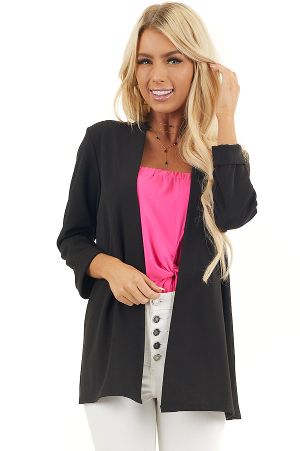 Black Open Front Long Sleeve Blazer with 3/4 Sleeves front close up