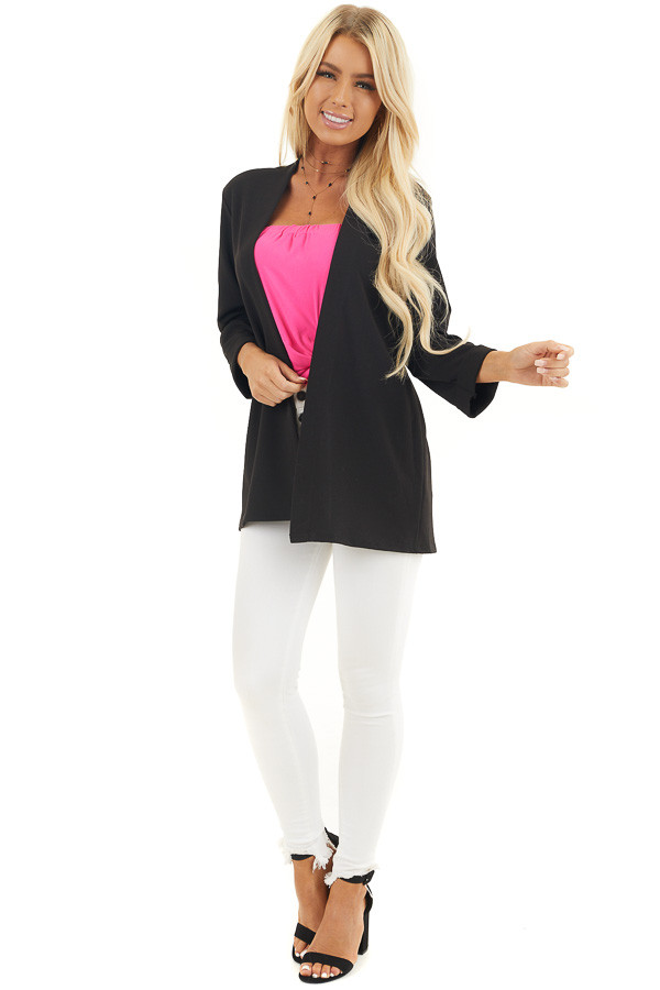 Black Open Front Long Sleeve Blazer with 3/4 Sleeves front full body
