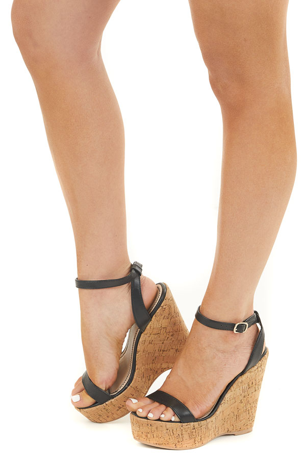 Matte Black Cork Wedge Heels with Toe and Ankle Straps