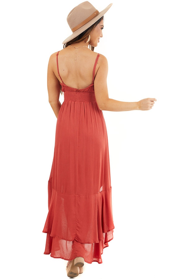 Rust Sleeveless High Low Maxi Dress with Lace Trim back full body