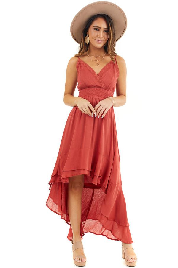 Rust Sleeveless High Low Maxi Dress with Lace Trim front full body