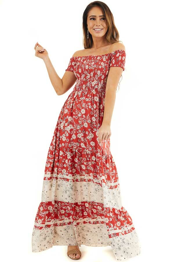Lipstick Red Floral Print Off Shoulder Smocked Maxi Dress front full body