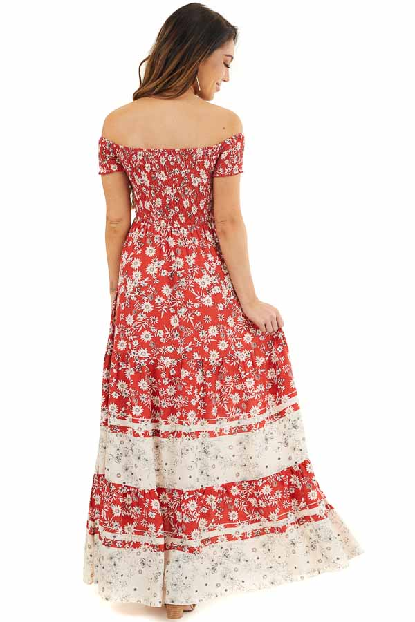 Lipstick Red Floral Print Off Shoulder Smocked Maxi Dress back full body