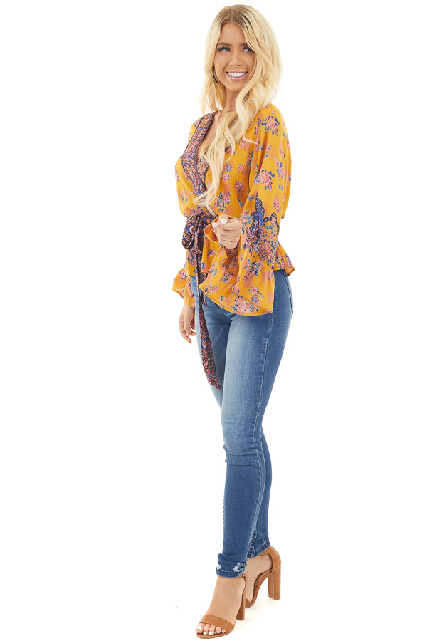 Mustard Floral Print Surplice Top with Long Sleeves and Tie