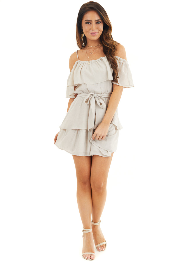 Oatmeal Cold Shoulder Woven Mini Dress with Ruffle Details front full body