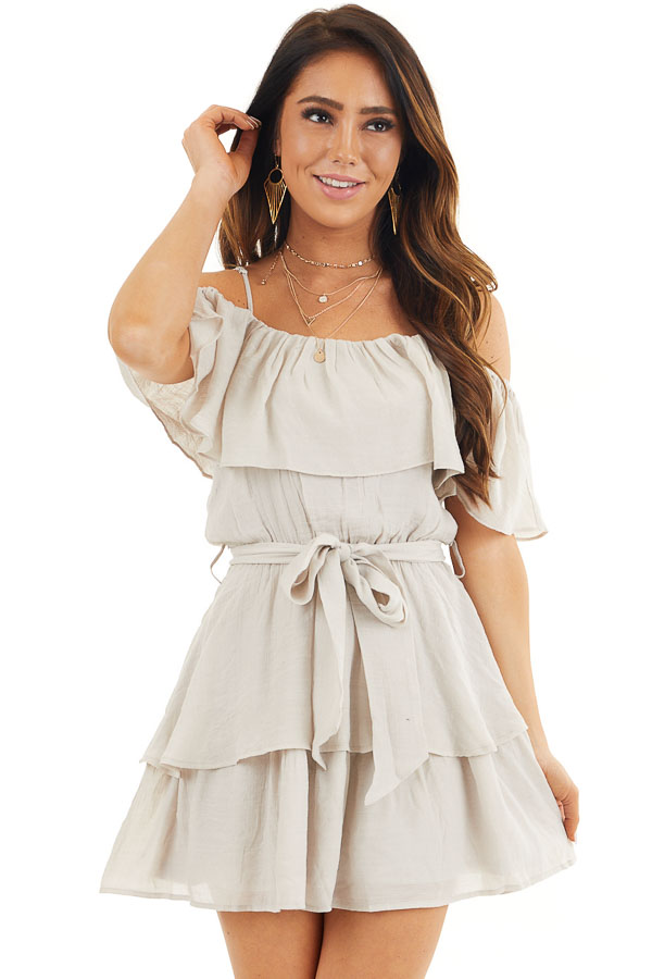 Oatmeal Cold Shoulder Woven Mini Dress with Ruffle Details front close up