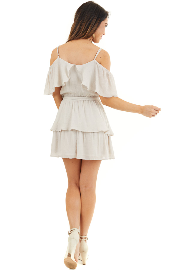 Oatmeal Cold Shoulder Woven Mini Dress with Ruffle Details back full body